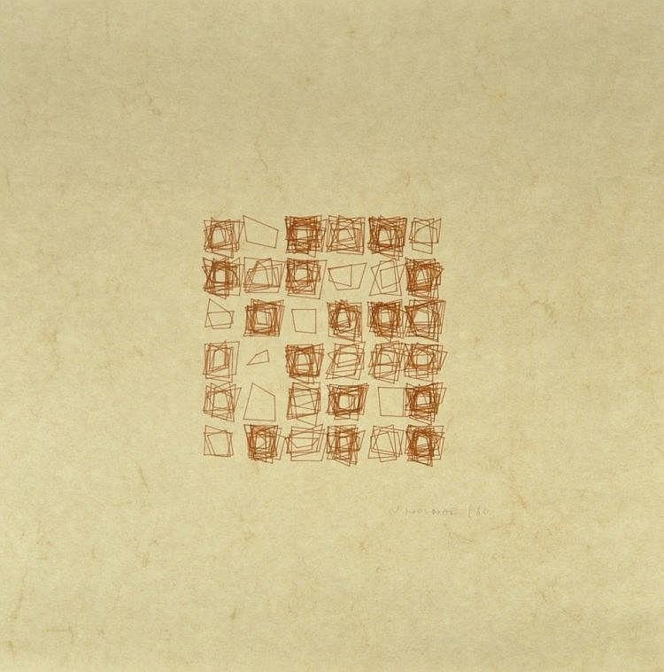 Véra MOLNAR (1924).  Composition.  Tracé ordinateur sur parchemin.