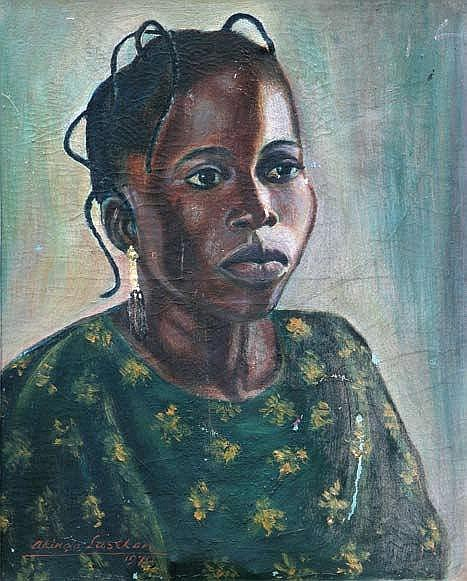 AKINOLA LASEKAN (1916-1972) PORTRAIT OF A LADY