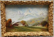UNIDENTIFIED ARTICLES. Landscape, oil on canvas, signed Schneider, 1800 / 1900s.