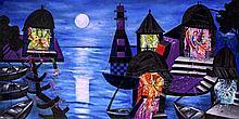 Manu Parekh 1939 - Banaras in Moonlight