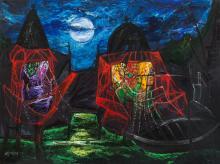 Manu Parekh 1939 - Temple in Moonlight