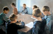 Dubrowin Jan, 'Drawing lesson', 40/60 cm, 15.7/23.6 in