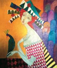 OSTROWSKI BONAWENTURA JAN, GIRL WITH THE PEACOCK