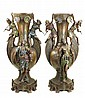TWO LARGE BRONZE ORIENTALIST FLOOR VASES