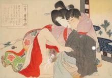Shunga woodblock depicting a couple in an erotic embrace, ca 1900