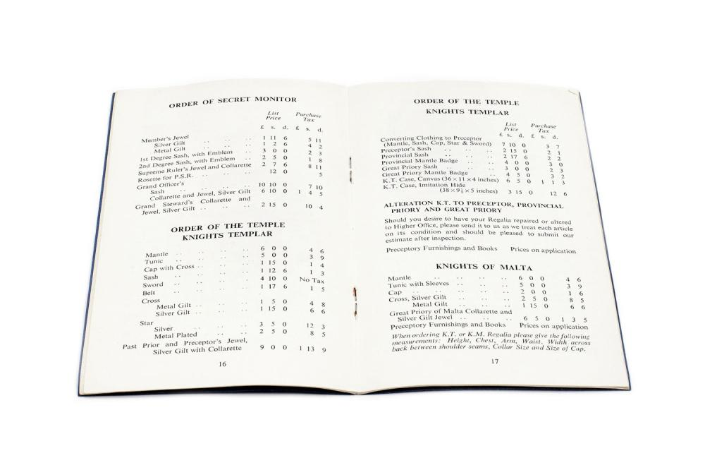 Masonic Regalia Price List, published by George Kenning & Sp