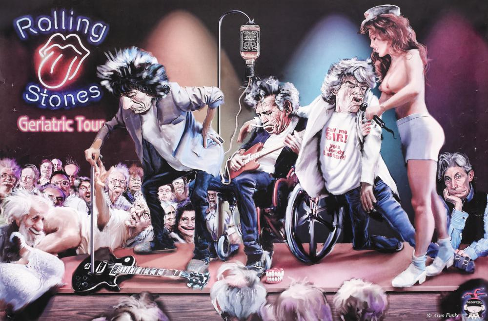 Sold Price The Rolling Stones Geriatric Tour Cartoon Poster June 4 0120 7 00 Pm Eest