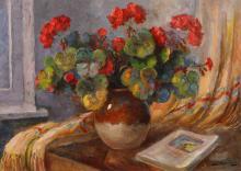 Samuel Bogdanovici, Still life with Geraniums and book