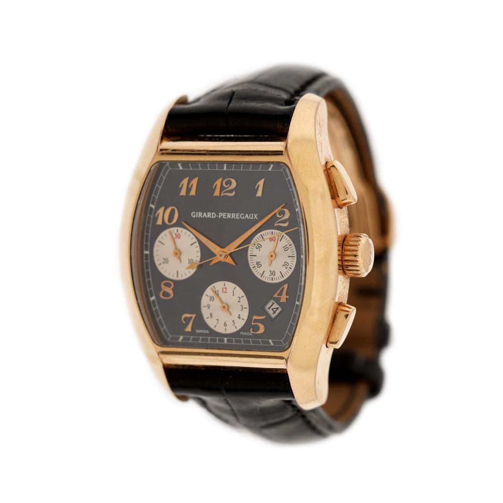 Girard Perregaux Richeville Chronograph wristwatch, men, guarantee card and original box
