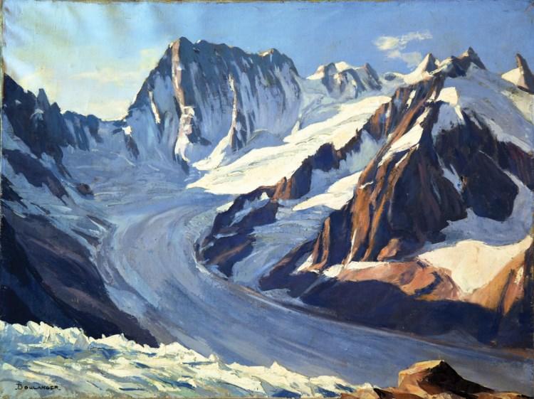 74 HAUTE SAVOIE - Les Grandes Jorasses: Vue du Couvercle - Mont Blanc signée Boulanger Vers 1930