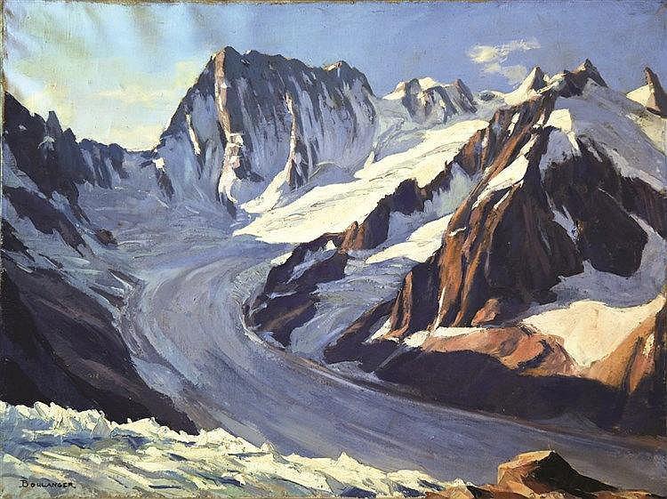 Les Grandes Jorasses: Vue du Couvercle - Mont Blanc huile sur toile / Oil on canvas sign Boulanger Vers 1930