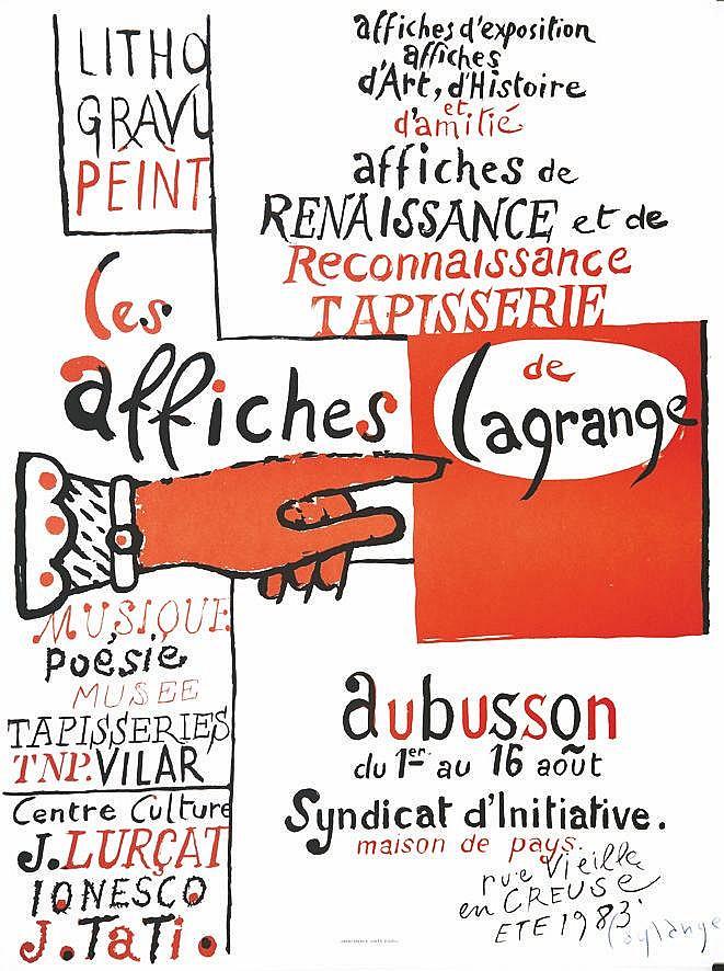 Aubusson - Les Affiches de Lagrange affiche signée vers 1980 Aubusson ( Creuse