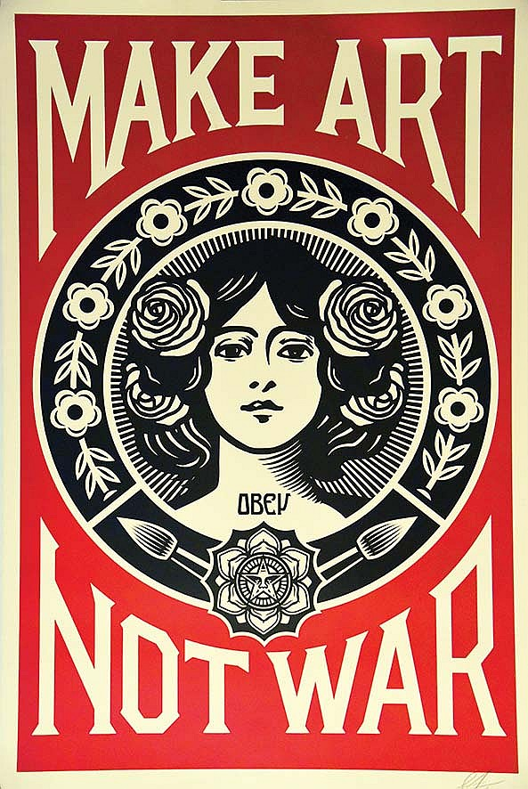 make art not war affiche sign e par shepard fairey ma tre du. Black Bedroom Furniture Sets. Home Design Ideas