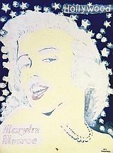 Marilyn Monroe Hollywood - Lithographie Réhaussée à La Gouache     1975