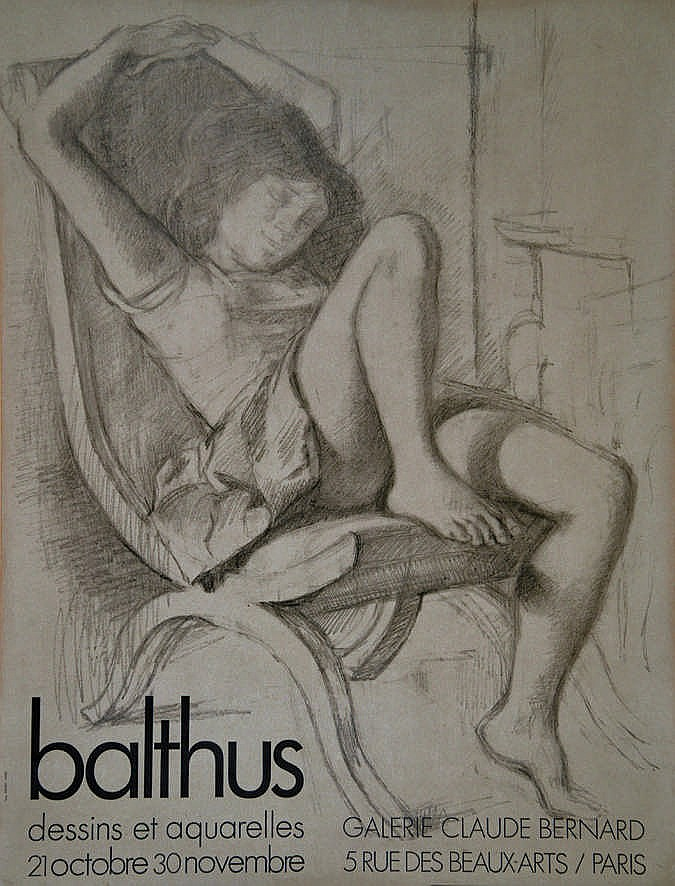 balthus katia dans un fauteuil les bras lev s galerie clau