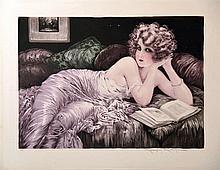 MILLIERE MAURICE Femme lisant Gravure en couleurs signée par Maurice Millière     vers 1930
