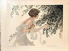 MILLIERE MAURICE La Cueillette Gravure signée par Maurice Milliere encadrée / framed     vers 1930