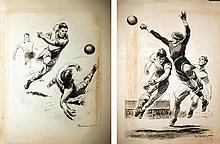 ORDNER PAUL 2 affiches d'un Match de Football vers 1930