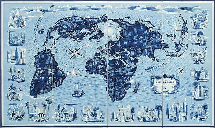 Boucher lucien planisph re air france poster g ant giant - Planisphere mural geant ...