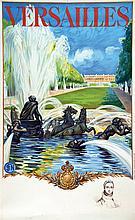 MILLIERE MAURICE Versailles Le Château avec un portrait en remarque     1936