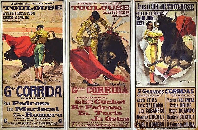 RUANO LLOPIS  Lot de 3 Affiches: Gde Corrida de Toulouse - 8 avril 1956 - 16 sept 1956 - 9 &10 juin 1957     1956 & 1957
