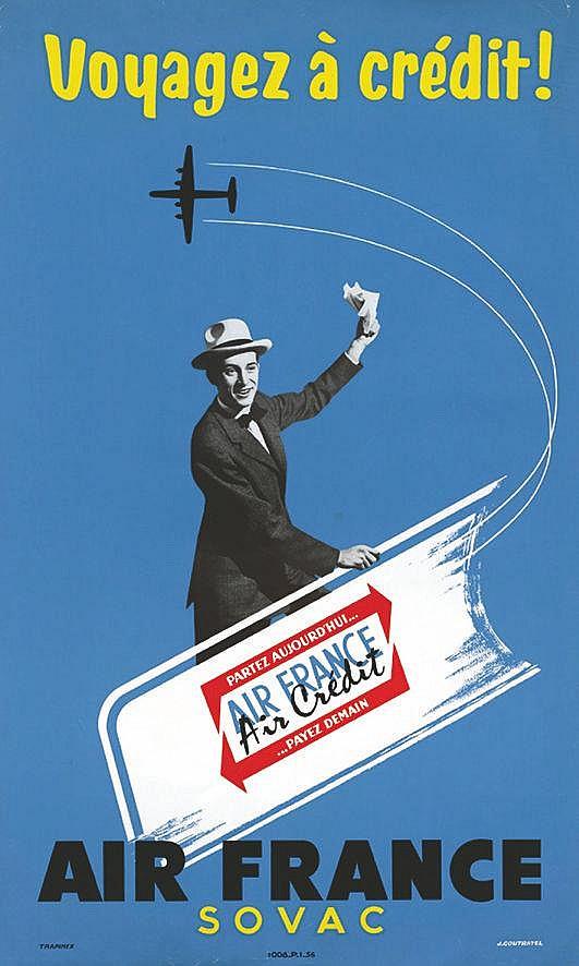 COUTRATEL  J.  Air France Sovac - Voyagez à crédit     1956