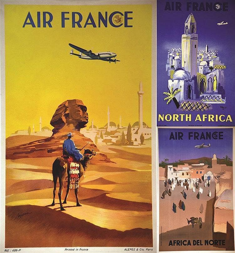 EVEN - VILLEMOT - GUERRA Lot de 3 Aff Entoillées : Egypte - North Africa - Africa del Norte 1950