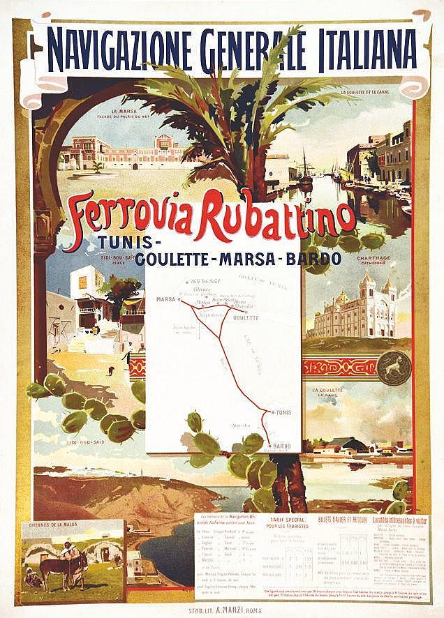 Ferrovia Rubattino Tunis - Goulette - Marsa - Bardo     vers 1900