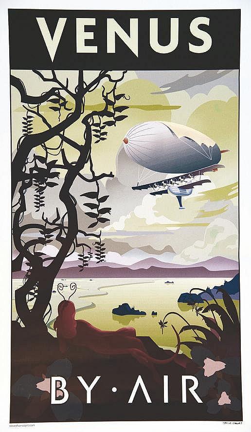 THOMAS STEVEN  Venus By Air affiche signée par Steve Thomas     vers 2000