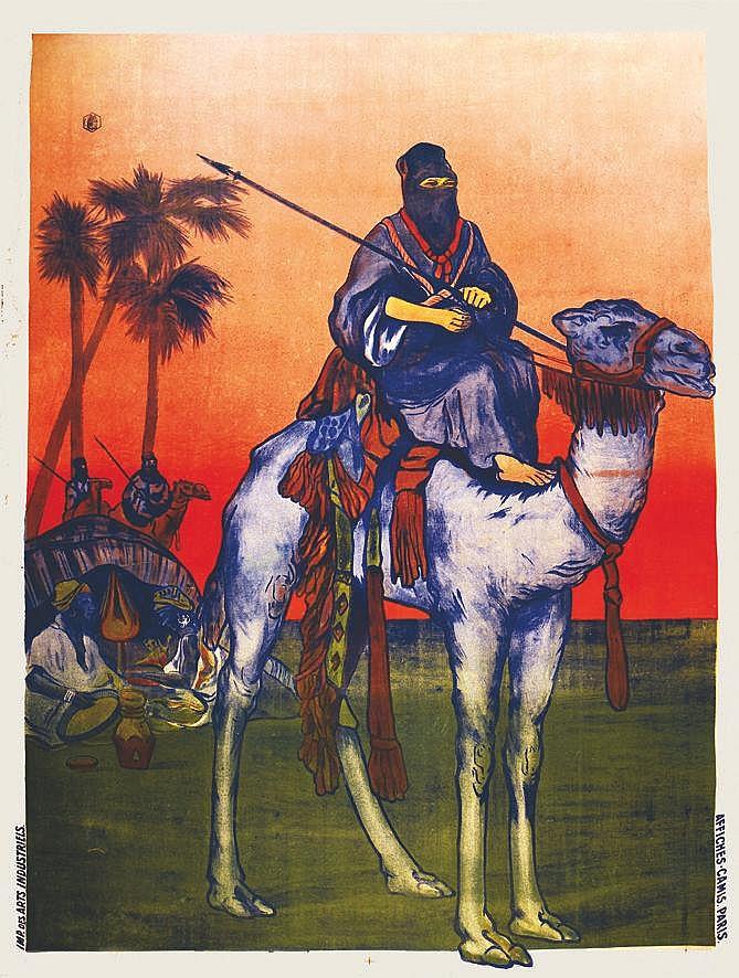 Chameau & Bedoin en Algérie - Affiche avant la lettre vers 1900