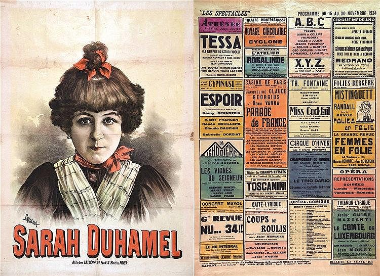 Lot de 2 aff : Sarah Duhamel - Les Spectacles nov 1934     1890 & 1934