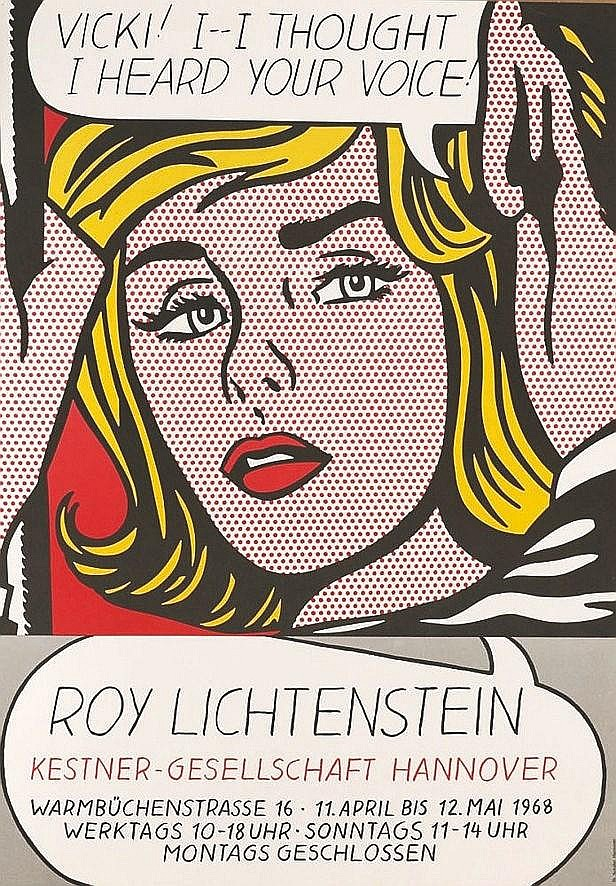 LICHTENSTEIN ROY  Vicky I thought I heard your voice - très rare affiche réalisée en sérigraphie en 1968     1968
