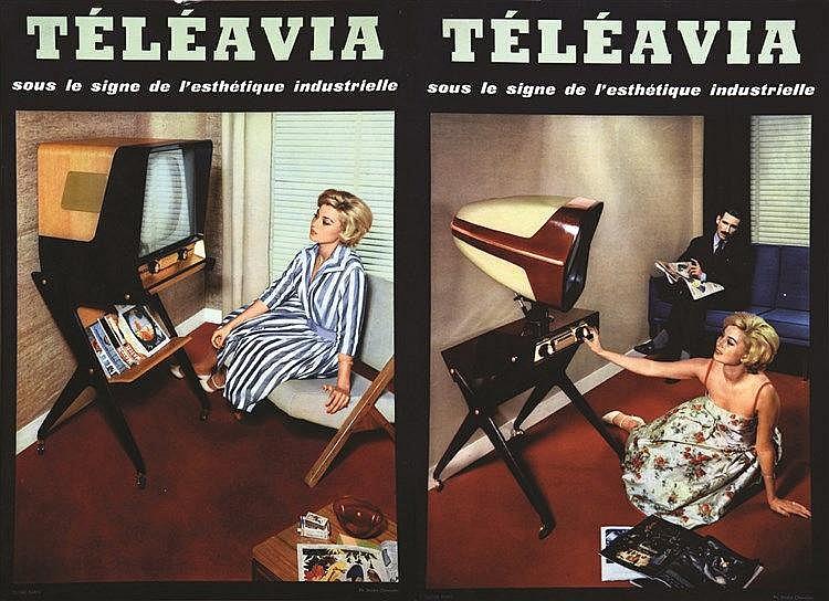 PHOTO : STUDIO CHEVALIER  Lot de 2 Carton Publictaires Téléavia     vers 1960