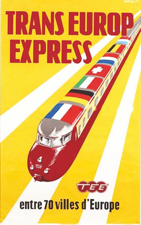 RODRIGO. Transeurop express entre 70 villes d'Europe Vers 1950