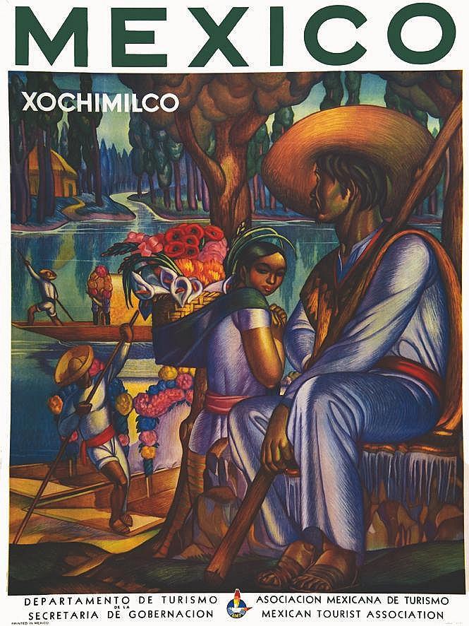 Xochimilco - Mexico - Departamento De Turismo De La Secretaria De Gobernacion vers 1944