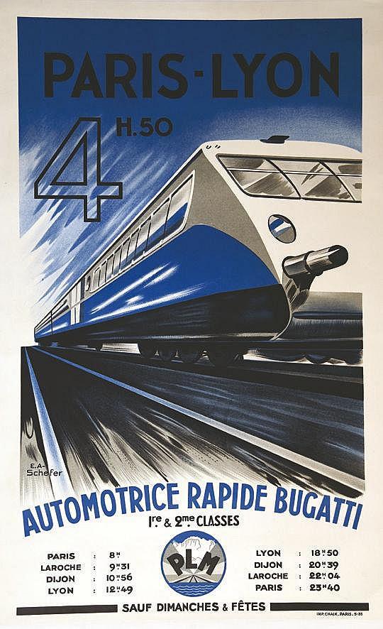 SCHEFER EMILE ANDRE Paris Lyon 4 H 50 - Automotrice Rapide Bugatti 1935