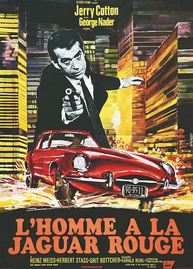 L'Homme à la Jaguar Rouge ( Jaguar Type E )     vers 1960