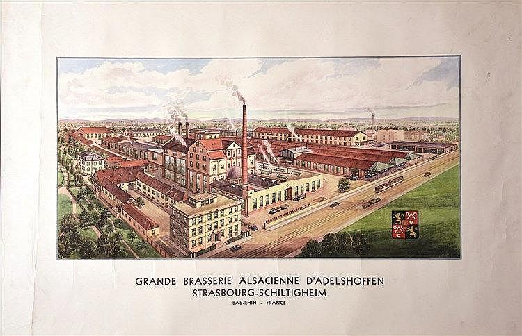 Grande Brasserie Alsacienne d'Adelshoffen vers 1930 Strasbourg - Schiltigheim (Bas-Rhin)