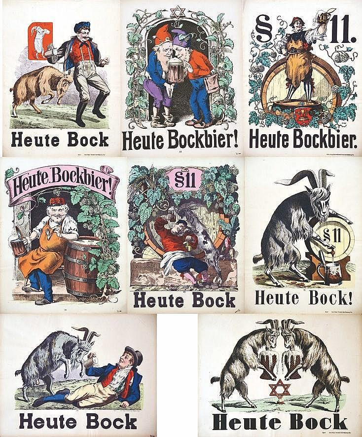 Lot de 8 Affiches sur la Biere : Heute Bock ! Heute Bock Bier vers 1900