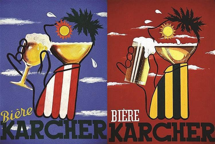LE COMTE Y. Lot de 2 Gouaches : Bière Karcher - Gouaches non signées vers 1950