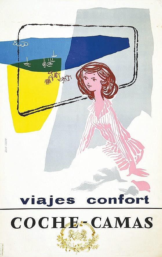 COLIN JEAN  Coche Camas Viajes Confort     vers 1950