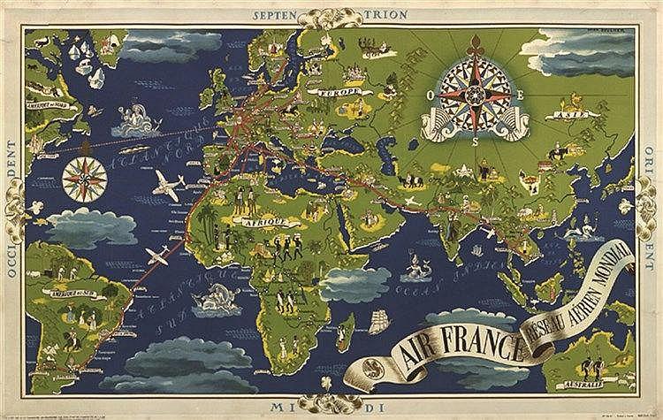 BOUCHER LUCIEN Planisphère vers 1960