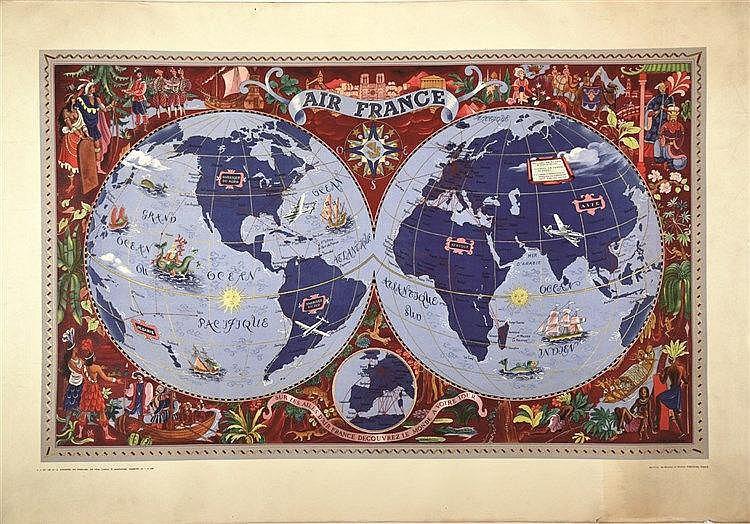 BOUCHER LUCIEN Planisphère 1950