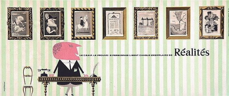 MASSACRIER  Réalités - Très rare Carton Publicitaire avec des fenêtres qui s'ouvrent     vers 1960