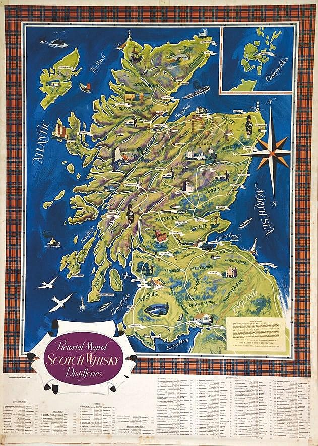 Scotch Wisky Distilleries Pictoral Map     vers 1980