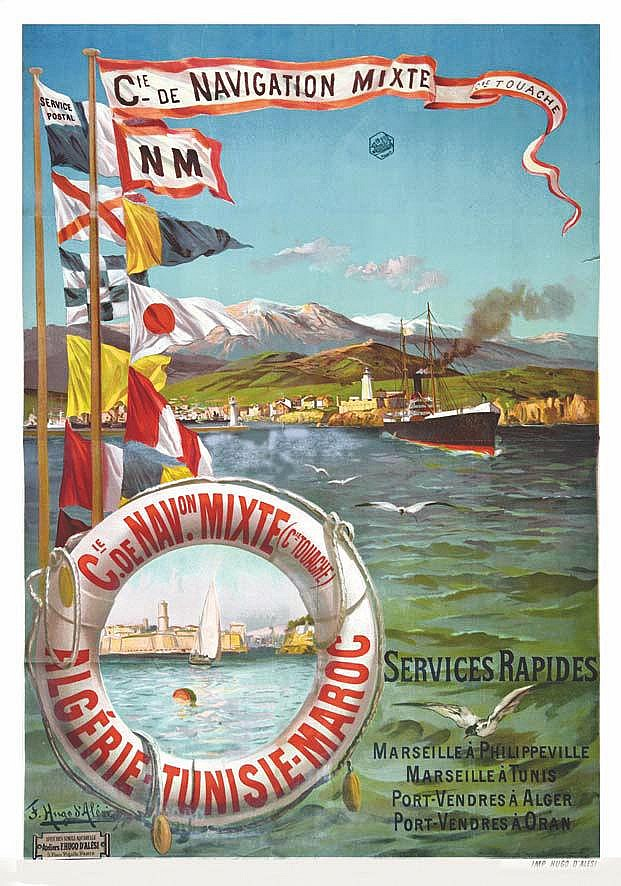 HUGO D' ALESI F. Algérie Maroc TunisieCie Navigation Mixte vers 1900 Marseille (Bouches du Rhône)