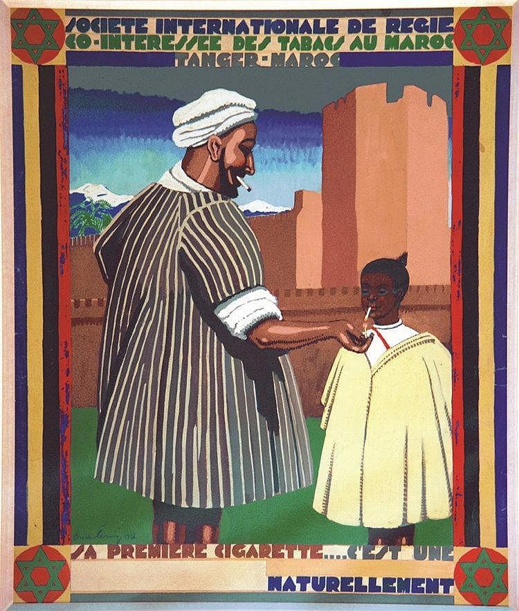 CERNY  CHARLES  Société Internationale de Regie Co-Intéressé des Tabacs Au Maroc - Tanger Gouache signée Ch. CERNY     1931