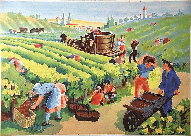 POIRIE Les Vendanges vers 1950