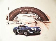 24 Heures du Mans : Jaguar Dunlop affiche signée     vers 1970