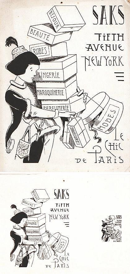 VAVASSEUR  Saks Fith Avenue New York lot de 2 dessins à l'encre de chine/ 2 Vintage Drawing in Chineese Ink     vers 1900